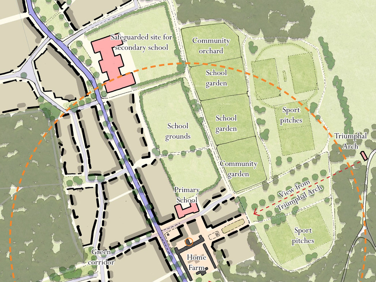 Map of school grounds and school areas within Parlington Village