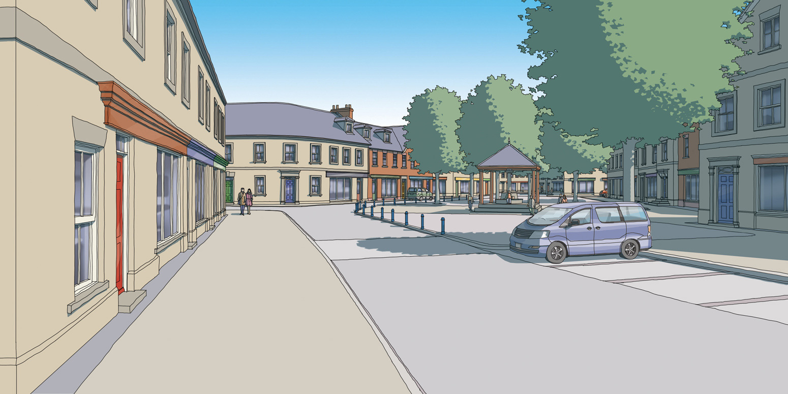 Illustration of local centre in Parlington Village