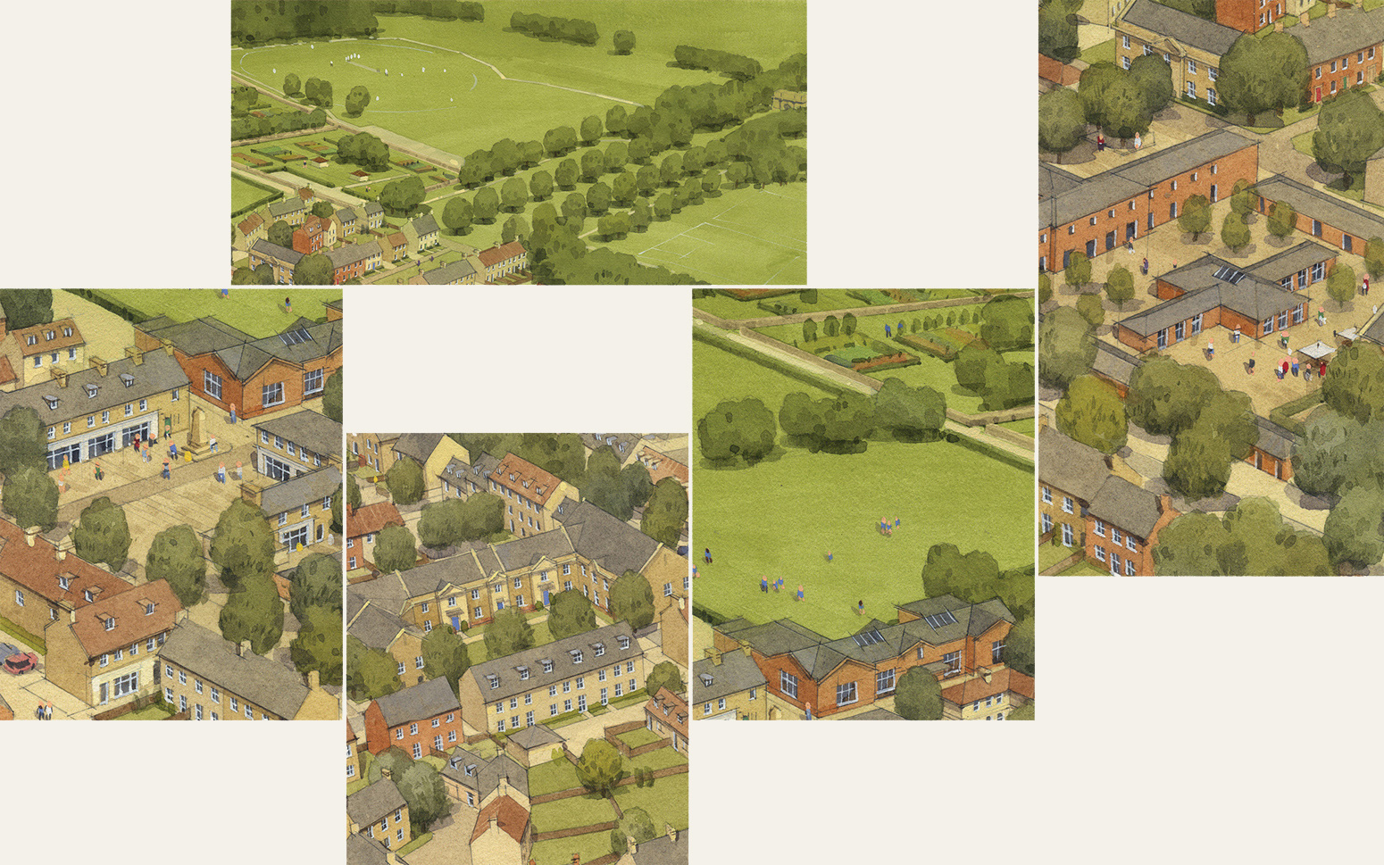 Collage of Parlington Village illustrations