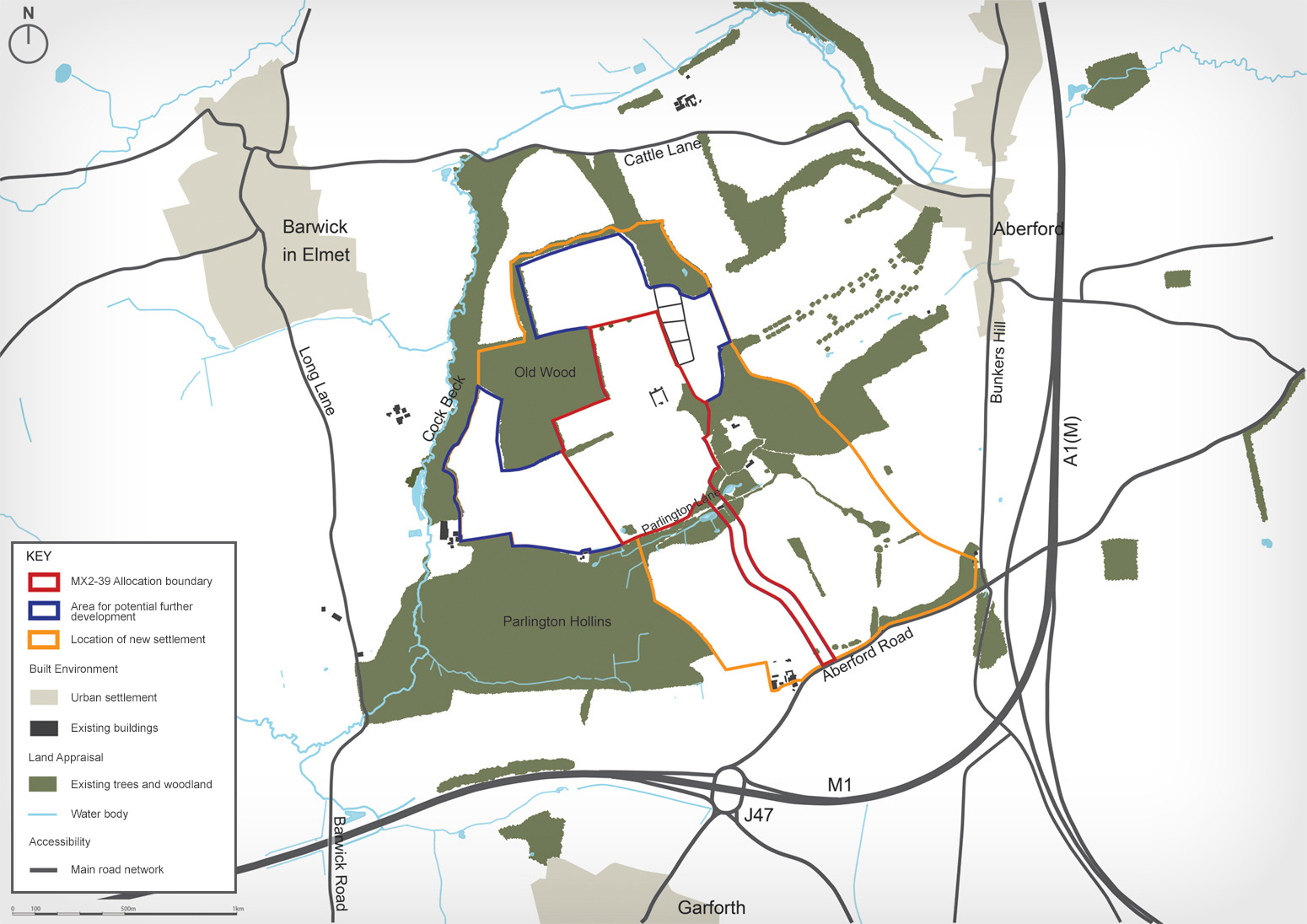 Map of proposed settlement in context of surrounding areas